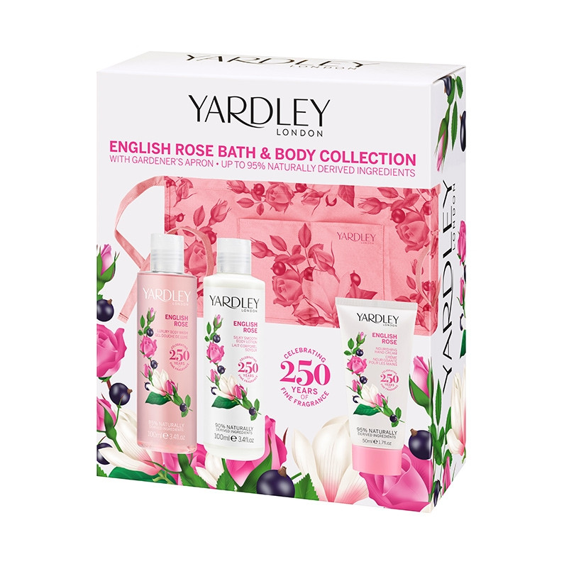 English Rose Bath & Body Set with Gardeners Apron for Her